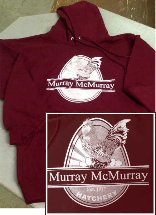 sweatshirt, murray mcmurray hatchery, maroon, clothing